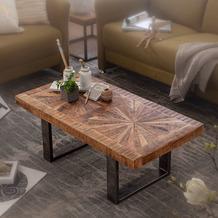 Wohnling Moderner Couchtisch Mango Massivholz 105x40x55 cm Tisch im Industrial Design, Sofatisch