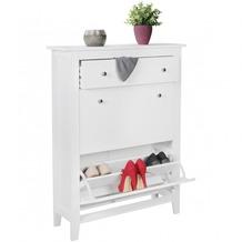 Wohnling moderner Design Schuhschrank LINO weiß 12 Paar Schuhe 2 Fächer 1 Schub, Schuhkipper 80 x 118 x 25 cm, Schuhkommode mit Ablage Weiß