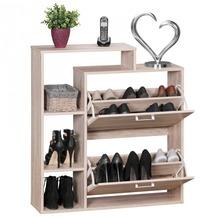 Wohnling Moderner Schuhkipper SAMO Holz 2 Fächer Sonoma Eiche 12 Paar Schuhe | Schuhschrank 85 x 24 x 93 cm | Schuhkommode Flur mit Ablage Regal