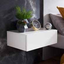 Wohnling Nachtkonsole DREAM für Wandmontage 46x15x30cm Weiß Nachttisch Holz, Wandregal mit Schublade