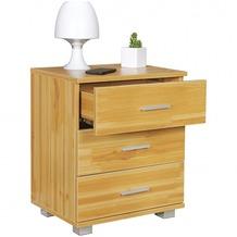 Wohnling Nachtkonsole NINA Holz Nachttisch modern mit 3 Schubladen buche, Design Nachtkästchen 45 x 54 x 34 cm, Kleines Nachtschränkchen