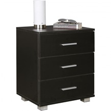 Wohnling Nachtkonsole NINA Holz Nachttisch modern mit 3 Schubladen schwarz, Design Nachtkästchen 45 x 54 x 34 cm, Kleines Nachtschränkchen