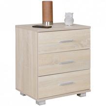 Wohnling Nachtkonsole NINA Holz Nachttisch modern mit 3 Schubladen sonoma, Design Nachtkästchen 45 x 54 x 34 cm, Kleines Nachtschränkchen