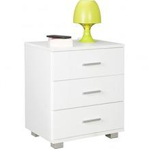 Wohnling Nachtkonsole NINA Holz Nachttisch modern mit 3 Schubladen weiß, Design Nachtkästchen 45 x 54 x 34 cm