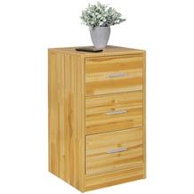 Wohnling Nachtkonsole OLAV Holz Nachttisch modern mit 3 Schubladen buche, Design Nachtkästchen 37,5 x 68 x 35 cm, Extra hohes Nachtschränkchen