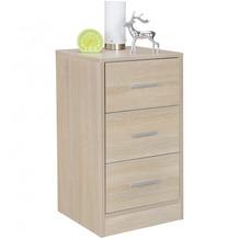 Wohnling Nachtkonsole OLAV Holz Nachttisch modern mit 3 Schubladen sonoma, Design Nachtkästchen 37,5 x 68 x 35 cm, Extra hohes Nachtschränkchen