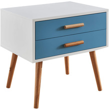 Wohnling Nachttisch 50x40x50 cm Weiß / Blau Matt 2 Schubladen, Nachtkonsole skandinavisches Design