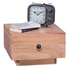 Wohnling Nachttisch Massiv-Holz Akazie Design Nacht-Kommode 25 cm hoch mit Schublade Nachtschrank Natur-Holz 40x40 cm