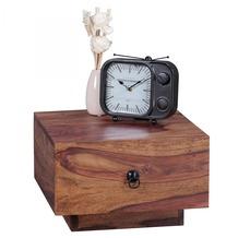 Wohnling Nachttisch Massiv-Holz Sheesham Design Nacht-Kommode 25 cm hoch mit Schublade Nachtschrank Natur-Holz 40x40 cm