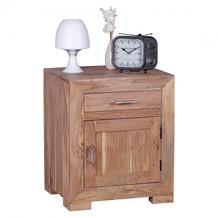 Wohnling Nachttisch Massivholz Akazie Design Nachtkommode 60 cm mit Schublade und Tür