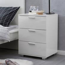 Wohnling Nachttisch Weiß WL5.870 46x64,5x42cm Holz Nachtkonsole Hochglanz