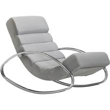 Wohnling Relaxliege Grau / Silber 110 kg Belastbar Relaxsessel 61x81x111 cm