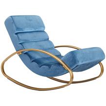 Wohnling Relaxliege Samt Blau / Gold 110 kg Belastbar Relaxsessel 61x81x111 cm