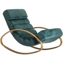 Wohnling Relaxliege Samt Grün / Gold 110 kg Belastbar Relaxsessel 61x81x111 cm