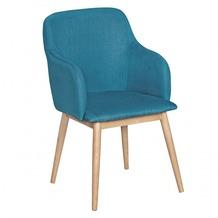 Wohnling Retro Esszimmerstuhl LIMA Petrol Polsterstuhl Stoff-Bezug Rückenlehne Design Küchen-Stuhl Armlehne gepolstert
