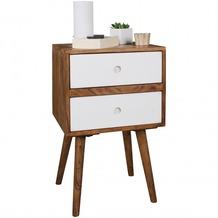 Wohnling Retro Nachtkonsole REPA / Sheesham-Holz Nachttisch mit 2 Schubladen dunkelbraun / weiß | Design Nachtkästchen 40 x 35 x 55 cm | Kleines Nachtschränkchen