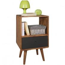 Wohnling Retro Nachtkonsole REPA 40x35x70 cm Sheesham-Holz dunkelbraun / schwarz, mit Schublade