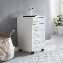 Wohnling Rollcontainer LISA Weiß 33x63x38cm Holz Schubladenschrank Schreibtisch Büro Schrank mit 5 Schubladen