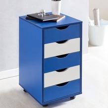 Wohnling Rollcontainer MINA 33 x 68 x 38 cm MDF-Holz 5 Schubladen blau / weiß Kinder, Moderner Schubladencontainer mit Rollen, Standcontainer Bürocontainer