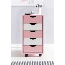 Wohnling Rollcontainer MINA 33 x 68 x 38 cm MDF-Holz 5 Schubladen rosa / weiß Kinder, Moderner Schubladencontainer mit Rollen, Standcontainer Bürocontainer