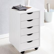 Wohnling Rollcontainer MINA 33 x 68 x 38 cm MDF-Holz 5 Schubladen weiß, Moderner Schubladencontainer mit Rollen, Standcontainer Bürocontainer