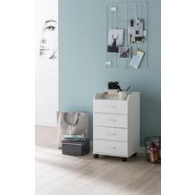 Wohnling Rollcontainer WL5.748 40 x 70,5 x 33 cm Weiß, Schreibtisch-Container Rollschrank 5 Schubladen