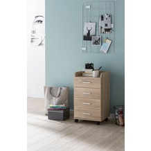 Wohnling Rollcontainer WL5.749 40x70,5x33cm Sonoma, Schreibtisch-Container Rollschrank 5 Schubladen, braun