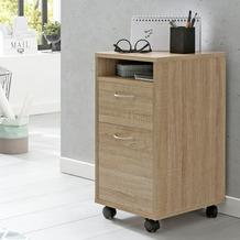 Wohnling Rollcontainer WL5.900 Sonoma 33x63x38 cm Schreibtisch-Unterschrank Holz mit Rollen