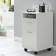Wohnling Rollcontainer WL5.901 Weiß 33x63x38 cm Schreibtisch-Unterschrank Holz mit Rollen