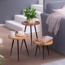 Wohnling Satztisch Akazie Massivholz / Metall Beistelltisch 3er Set Klein, Design Couchtisch Set drei Holz-Tische, Wohnzimmertisch Metallgestell