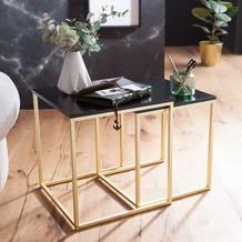 Wohnling Satztisch CALA Schwarz / Gold Beistelltisch MDF / Metall, Couchtisch Set aus 2 Tischen, Kleiner Wohnzimmertisch, Metalltisch mit Holzplatte, Ablagetisch modern gold