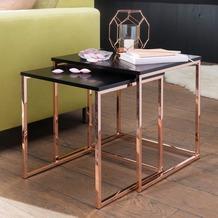Wohnling Satztisch CALA Schwarz/Kupfer MDF, Couchtisch Set aus 2 Tischen, Metalltisch mit Holzplatte