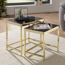 Wohnling Satztisch VIOLA Schwarz/Gold, Couchtisch Set aus 2 Tischen, Metalltisch mit Glasplatte