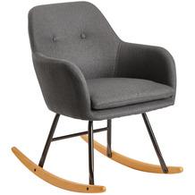 Wohnling Schaukelstuhl Dunkelgrau 71x76x70cm Design Relaxsessel Malmo-Stoff / Holz