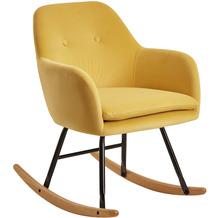 Wohnling Schaukelstuhl Gelb 71x76x70cm Design Relaxsessel Samt / Holz