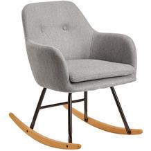 Wohnling Schaukelstuhl Hellgrau 71x76x70cm Design Relaxsessel Malmo-Stoff / Holz