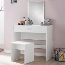 Wohnling Schminktisch WL5.726 81x131x39 cm Weiß Konsolentisch Holz Modern, Kosmetiktisch mit Hocker & Spiegel