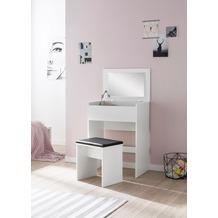 Wohnling Schminktisch WL5.730 60x81x40 cm Weiß Konsolentisch Holz Modern, Kosmetiktisch mit Hocker & Spiegel