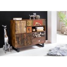 Wohnling Schrank PATNA 90x35x80 cm Massiv Holz Mango Natur, mit Schubladen und Türen