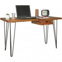 Wohnling Schreibtisch BAGLI braun 130 x 60 x 76 cm Massiv Holz Laptoptisch Sheesham Natur