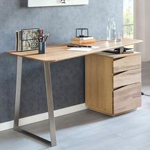 Wohnling Schreibtisch FARON 1150x67x76 cm Eiche Massivholz Tischplatte Nierenförmig, Bürotisch mit Schubladen Modern, Computertisch Massiv, Nierentisch Holz eiche