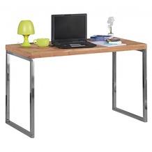 Wohnling Schreibtisch GUNA 120x60 cm Massivholz Akazie Computertisch, mit Metallbeinen