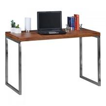 Wohnling Schreibtisch GUNA Massivholz Sheesham Computertisch 120 x 60 cm Konsolentisch mit Metallbeinen