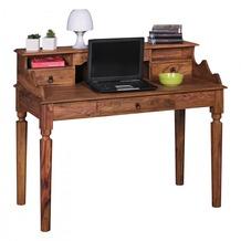 Wohnling Schreibtisch KADA Massivholz Sheesham, Sekretär 115 x 100 x 60 cm mit 3 Schubladen, Landhaus-Stil