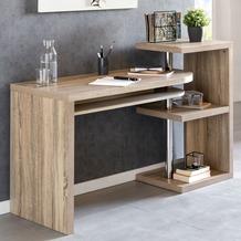 Wohnling Schreibtisch LARRY 145x50x94 cm Bürotisch mit Regal Sonoma, Winkelschreibtisch Schwenkbar Massiv, Computertisch mit Ablage, Chefschreibtisch mit Ordnerregal Modern sonoma