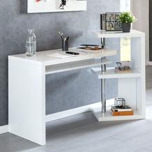 Wohnling Schreibtisch MARCIE 145x50x94 cm Weiß Hochglanz, mit Regal, Schwenkbar