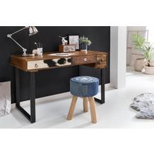 Wohnling Schreibtisch PATNA 120 x 60 x 79 cm Massiv Holz Laptoptisch Mango Natur, Landhaus-Stil Arbeitstisch mit Schubladen, Bürotisch PC-Tisch