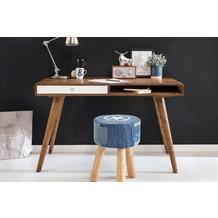 Wohnling Schreibtisch REPA weiß 120 x 60 x 75 cm Massiv Holz Laptoptisch Sheesham Natur, Bürotisch PC-Tisch