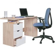 Wohnling Schreibtisch SAMO Design Bürotisch mit Schublade Sonoma/Weiß Tisch Computertisch mit Fächer Ablage 120 cm modern