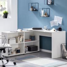 Wohnling Schreibtischkombination WL5.309 Weiß 130x75x60 cm Holz Schreibtisch